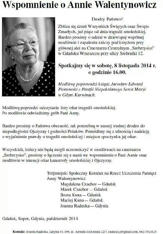 wspomnienie o Annie Walentynowicz 2014